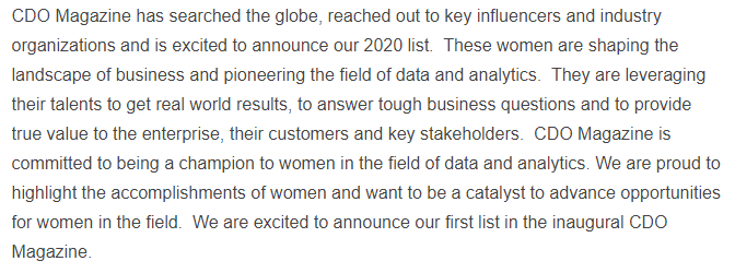 CDO Magazine Announces Its 2020 List of Global Data Power Women